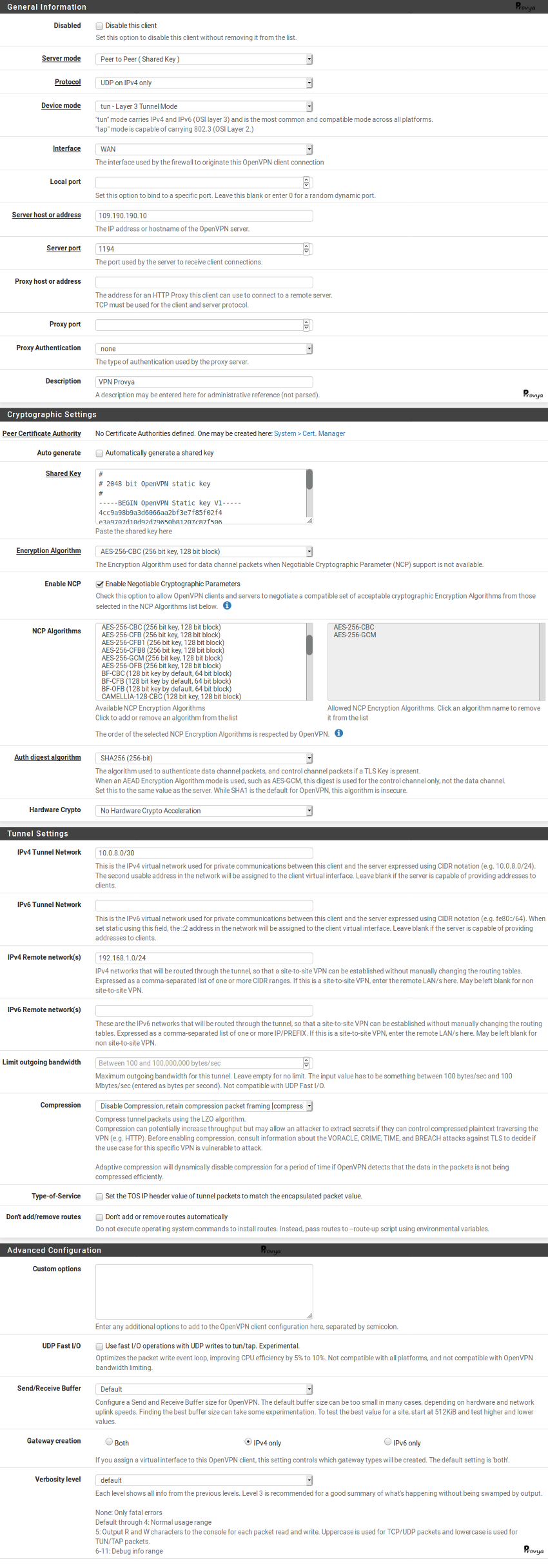 exemple configuration openVPN client clée partagée pfSense Provya