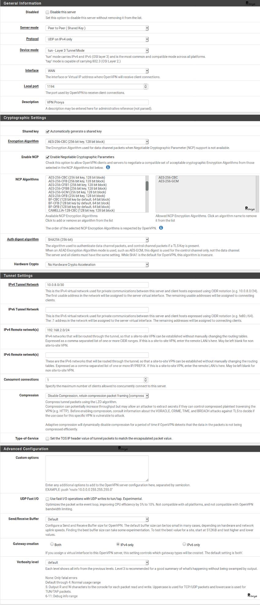 exemple configuration OpenVPN clée partagée pfSense Provya