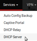 menu services DHCP server pfSense Provya