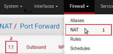 menu firewall NAT 1 to 1 pfSense - Provya
