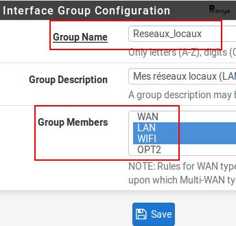 création groupe interfaces - pfSense - Provya