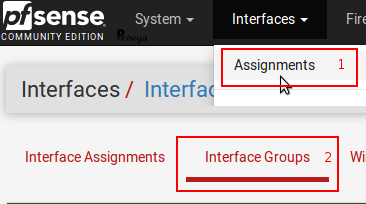 menu Interface Groups - pfSense - Provya