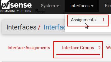 menu Interface Groups - pfSense - Provya