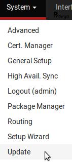 menu System Update pfSense - Provya