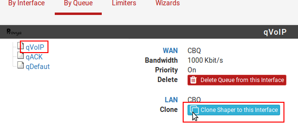 cloner QoS entre interfaces pfSense - Provya