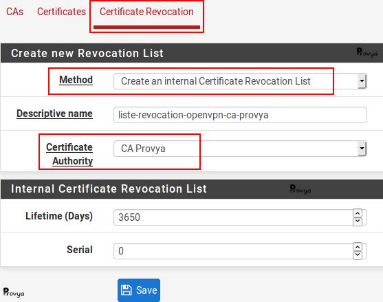 Création d'une CRL (Certificate Revocation Liste) sous pfSense - Provya