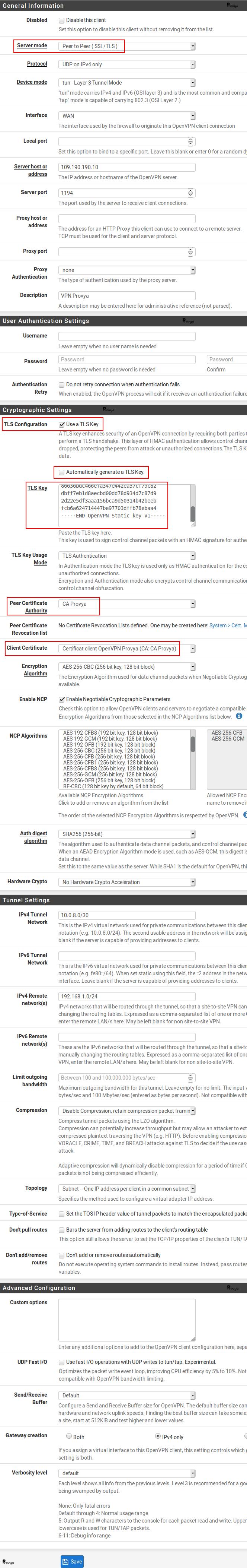 Exemple de configuration client OpenVPN avec certificat sur pfSense - Provya