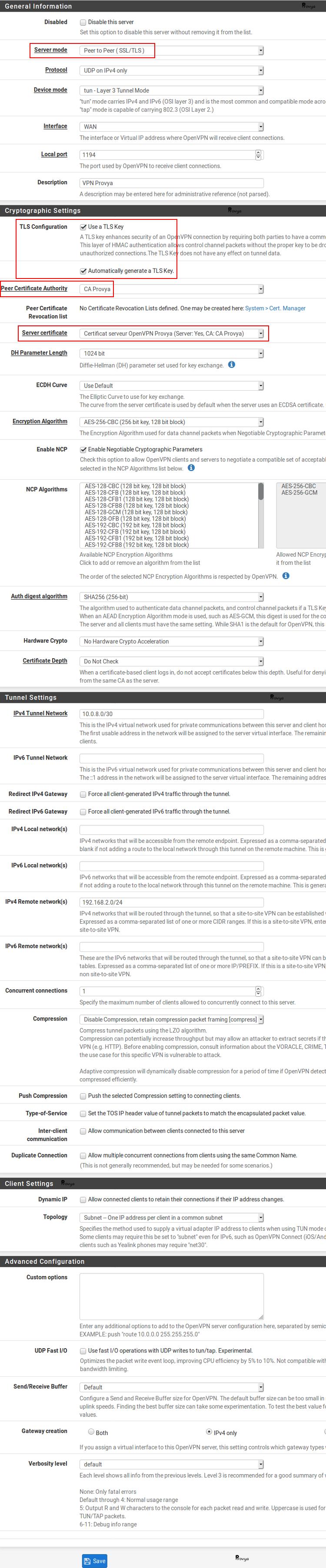 Exemple de configuration serveur OpenVPN avec certificat sur pfSense - Provya