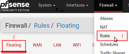 menu Firewall Rules Floating pfSense - Provya