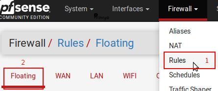 menu Firewall Rules Floating pfSense - Provya