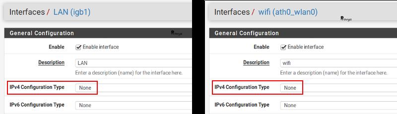 Configuration des interfaces LAN et WIFI pour un bridge - pfSense - Provya