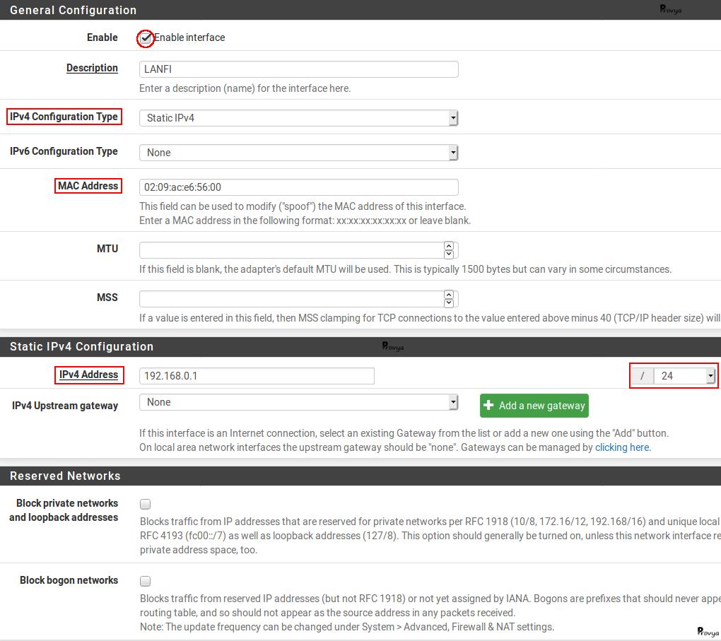 Configurer son interface sous pfSense - Provya