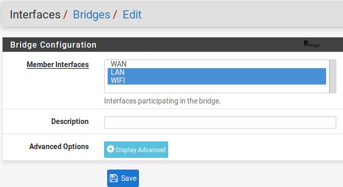 Création d'une interface bridge - pfSense - Provya