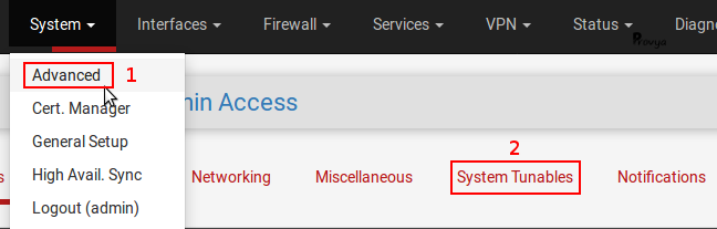 Menu System > Advanced - onglet System Tunables - pfSense - Provya