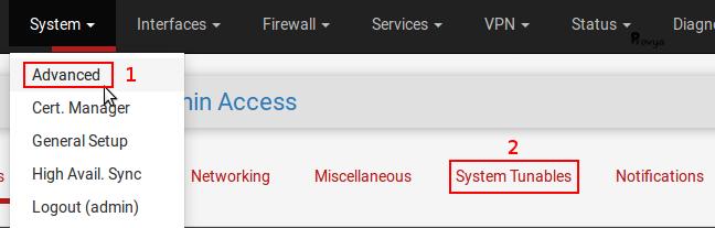 Menu System > Advanced - onglet System Tunables - pfSense - Provya