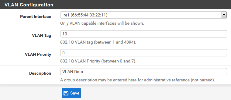 Configuration VLAN pfSense