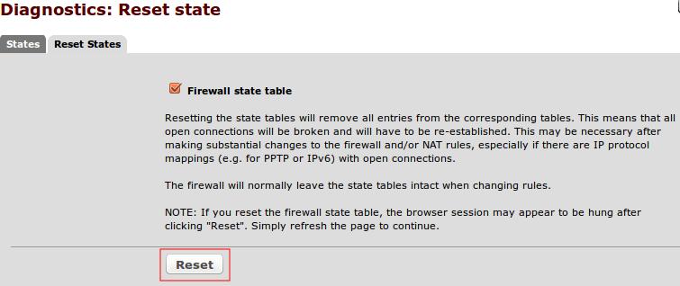 pfSense reset firewall states